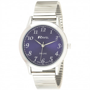 Men's Classic Expander Watch - Silver Tone / Blue